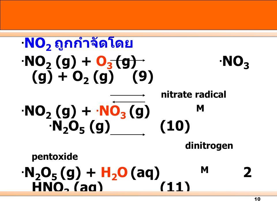 10. NO 2 ถูกกำจัดโดย. NO 2 (g) + O 3 (g). NO 3 (g) + O 2 (g) (9) nitrate radical. NO 2 (g) +. NO 3 (g) M. N 2 O 5 (g) (10) dinitrogen pentoxide. N 2 O