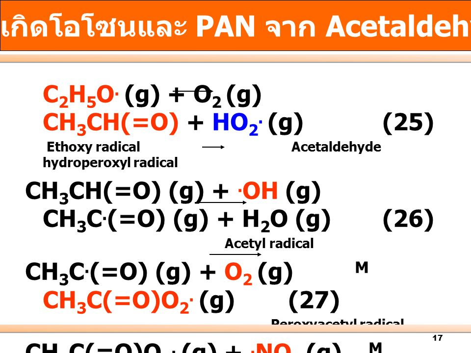 17 C 2 H 5 O. (g) + O 2 (g) CH 3 CH(=O) + HO 2. (g) (25) Ethoxy radical Acetaldehyde hydroperoxyl radical CH 3 CH(=O) (g) +. OH (g) CH 3 C. (=O) (g) +