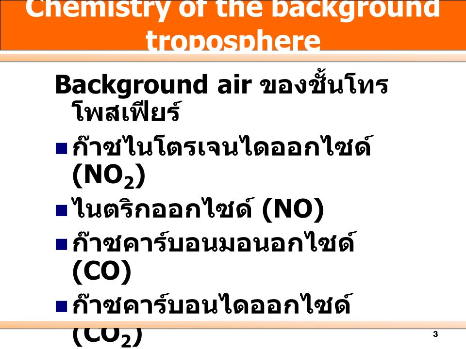 4 Photochemical Cycle of NO 2, NO and O 3 Unpolluted atmosphere:.