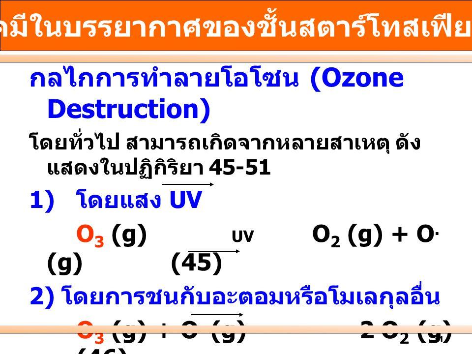 31 กลไกการทำลายโอโซน (Ozone Destruction) โดยทั่วไป สามารถเกิดจากหลายสาเหตุ ดัง แสดงในปฏิกิริยา 45-51 1) โดยแสง UV O 3 (g) UV O 2 (g) + O. (g)(45) 2) โ