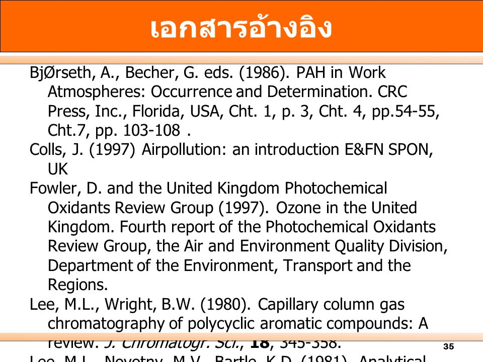 35 BjØrseth, A., Becher, G.eds. (1986). PAH in Work Atmospheres: Occurrence and Determination.