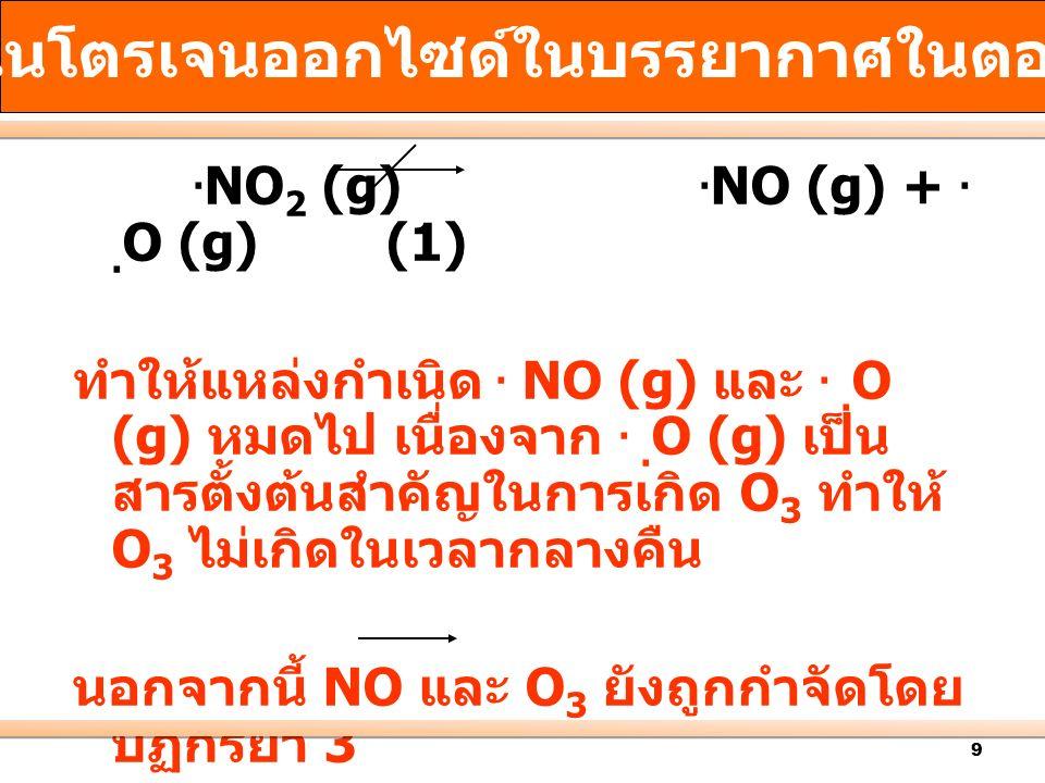 9. NO 2 (g). NO (g) +.. O (g) (1) ทำให้แหล่งกำเนิด. NO (g) และ.. O (g) หมดไป เนื่องจาก.. O (g) เป็น สารตั้งต้นสำคัญในการเกิด O 3 ทำให้ O 3 ไม่เกิดในเว