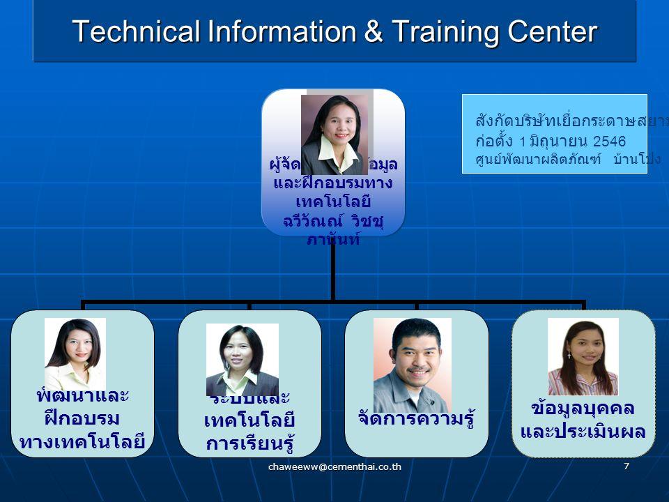 chaweeww@cementhai.co.th 7 Technical Information & Training Center สังกัดบริษัทเยื่อกระดาษสยาม บมจ ก่อตั้ง 1 มิถุนายน 2546 ศูนย์พัฒนาผลิตภัณฑ์ บ้านโป่ง ว่าง