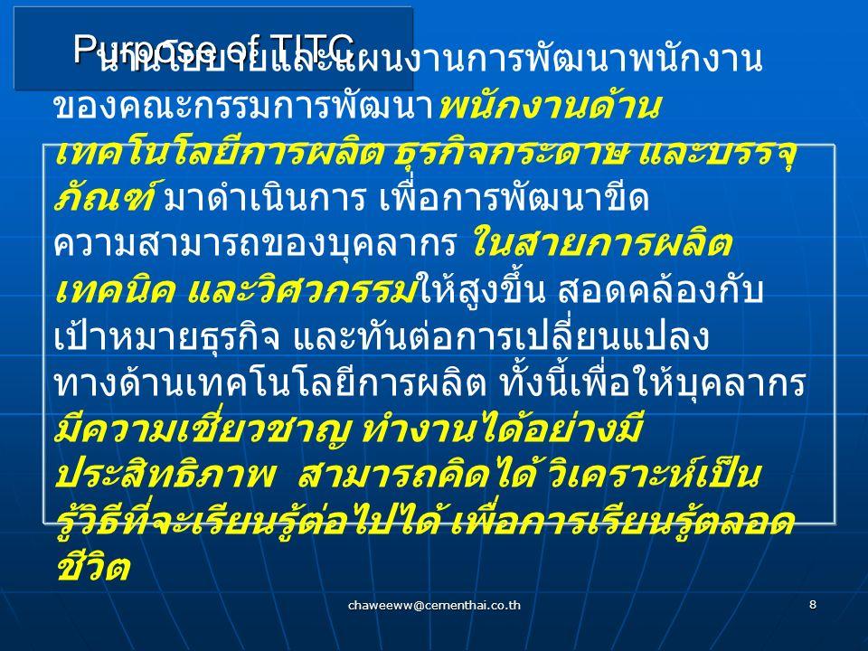 chaweeww@cementhai.co.th 7 Technical Information & Training Center สังกัดบริษัทเยื่อกระดาษสยาม บมจ ก่อตั้ง 1 มิถุนายน 2546 ศูนย์พัฒนาผลิตภัณฑ์ บ้านโป่
