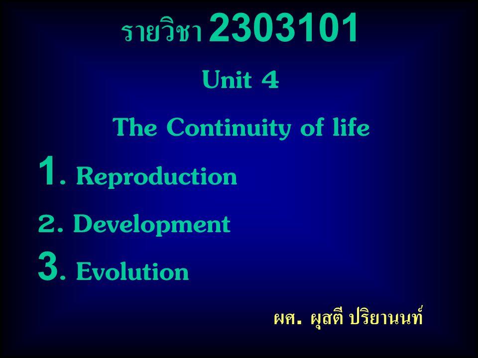 รายวิชา 2303101 Unit 4 The Continuity of life 1. Reproduction 2. Development 3. Evolution ผศ. ผุสตี ปริยานนท์