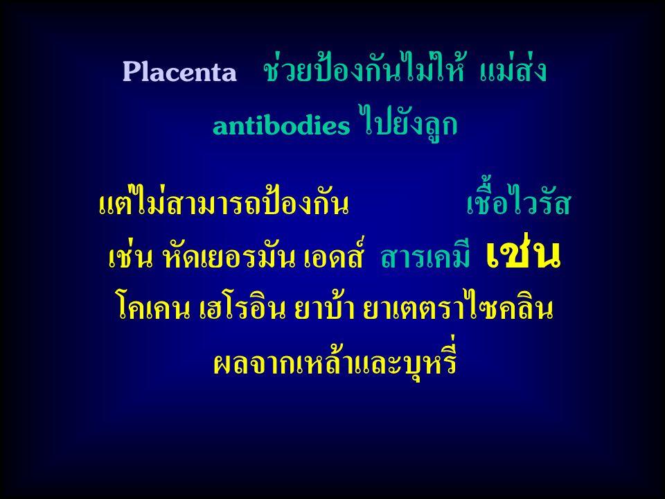 Placenta ช่วยป้องกันไม่ให้ แม่ส่ง antibodies ไปยังลูก แต่ไม่สามารถป้องกัน เชื้อไวรัส เช่น หัดเยอรมัน เอดส์ สารเคมี เช่น โคเคน เฮโรอิน ยาบ้า ยาเตตราไซคลิน ผลจากเหล้าและบุหรี่
