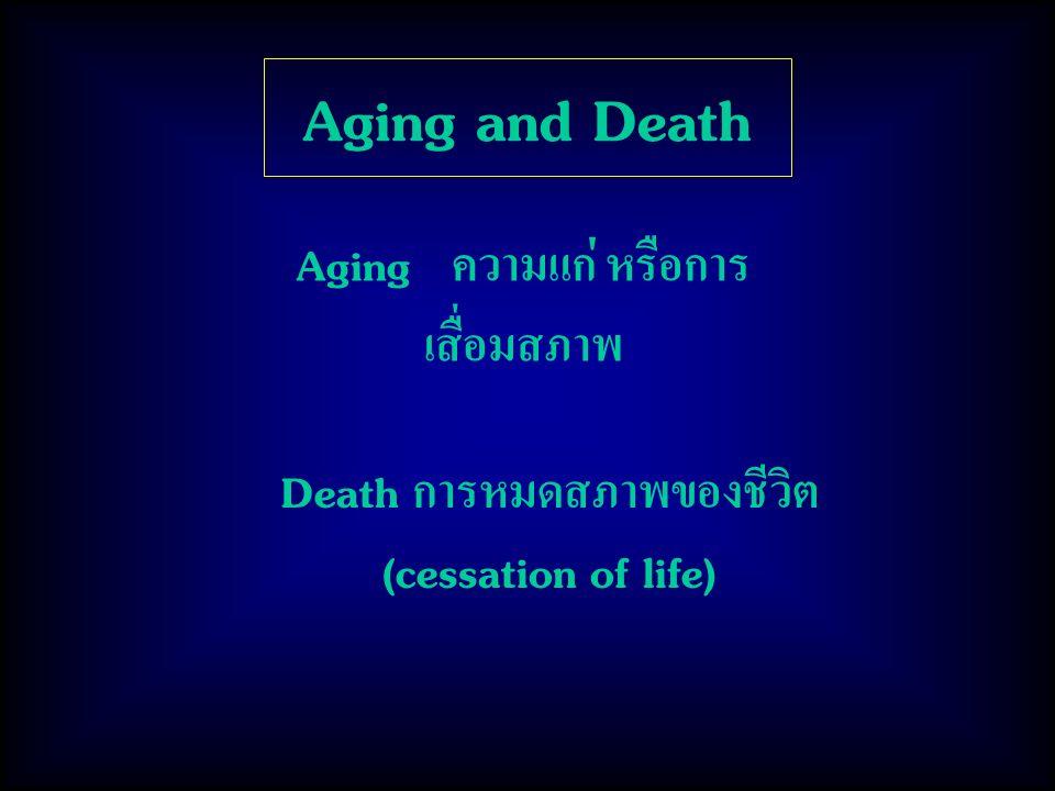 Aging and Death Aging ความแก่ หรือการ เสื่อมสภาพ Death การหมดสภาพของชีวิต (cessation of life)