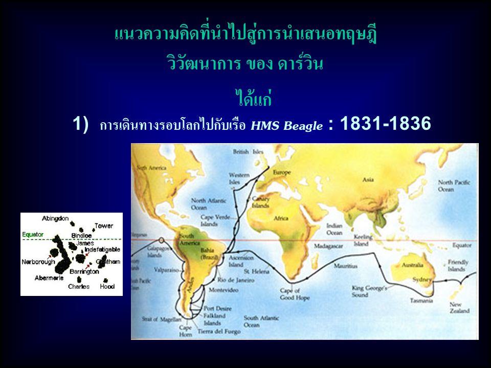 แนวความคิดที่นำไปสู่การนำเสนอทฤษฎี วิวัฒนาการ ของ ดาร์วิน 1) การเดินทางรอบโลกไปกับเรือ HMS Beagle : 1831-1836 ได้แก่