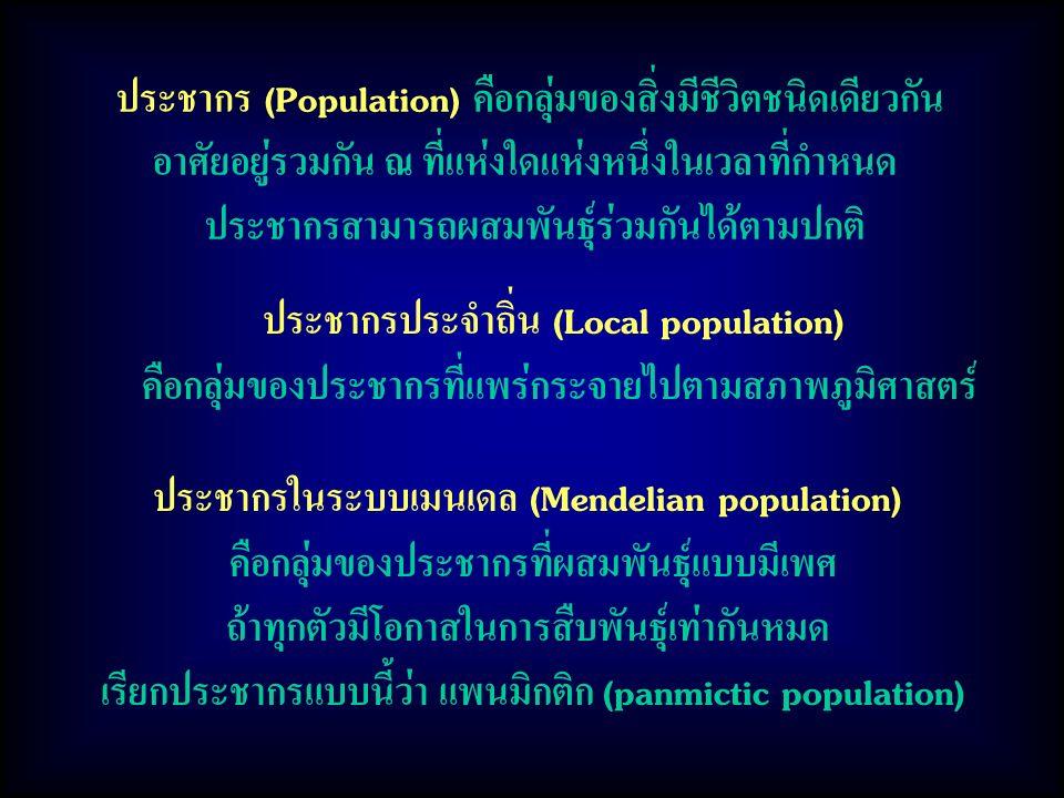 ประชากร (Population) คือกลุ่มของสิ่งมีชีวิตชนิดเดียวกัน อาศัยอยู่รวมกัน ณ ที่แห่งใดแห่งหนึ่งในเวลาที่กำหนด ประชากรสามารถผสมพันธุ์ร่วมกันได้ตามปกติ ประชากรประจำถิ่น (Local population) คือกลุ่มของประชากรที่แพร่กระจายไปตามสภาพภูมิศาสตร์ ประชากรในระบบเมนเดล (Mendelian population) คือกลุ่มของประชากรที่ผสมพันธุ์แบบมีเพศ ถ้าทุกตัวมีโอกาสในการสืบพันธุ์เท่ากันหมด เรียกประชากรแบบนี้ว่า แพนมิกติก (panmictic population)