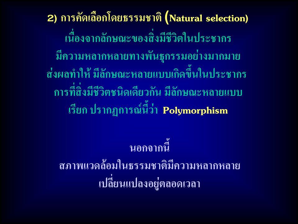 2) การคัดเลือกโดยธรรมชาติ (Natural selection) เนื่องจากลักษณะของสิ่งมีชีวิตในประชากร มีความหลากหลายทางพันธุกรรมอย่างมากมาย ส่งผลทำให้ มีลักษณะหลายแบบเ