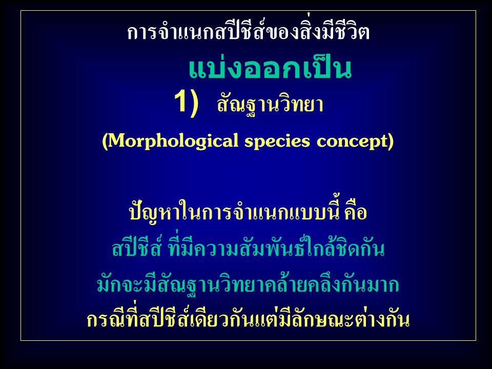 การจำแนกสปีชีส์ของสิ่งมีชีวิต แบ่งออกเป็น 1) สัณฐานวิทยา (Morphological species concept) ปัญหาในการจำแนกแบบนี้ คือ สปีชีส์ ที่มีความสัมพันธ์ใกล้ชิดกัน มักจะมีสัณฐานวิทยาคล้ายคลึงกันมาก กรณีที่สปีชีส์เดียวกันแต่มีลักษณะต่างกัน