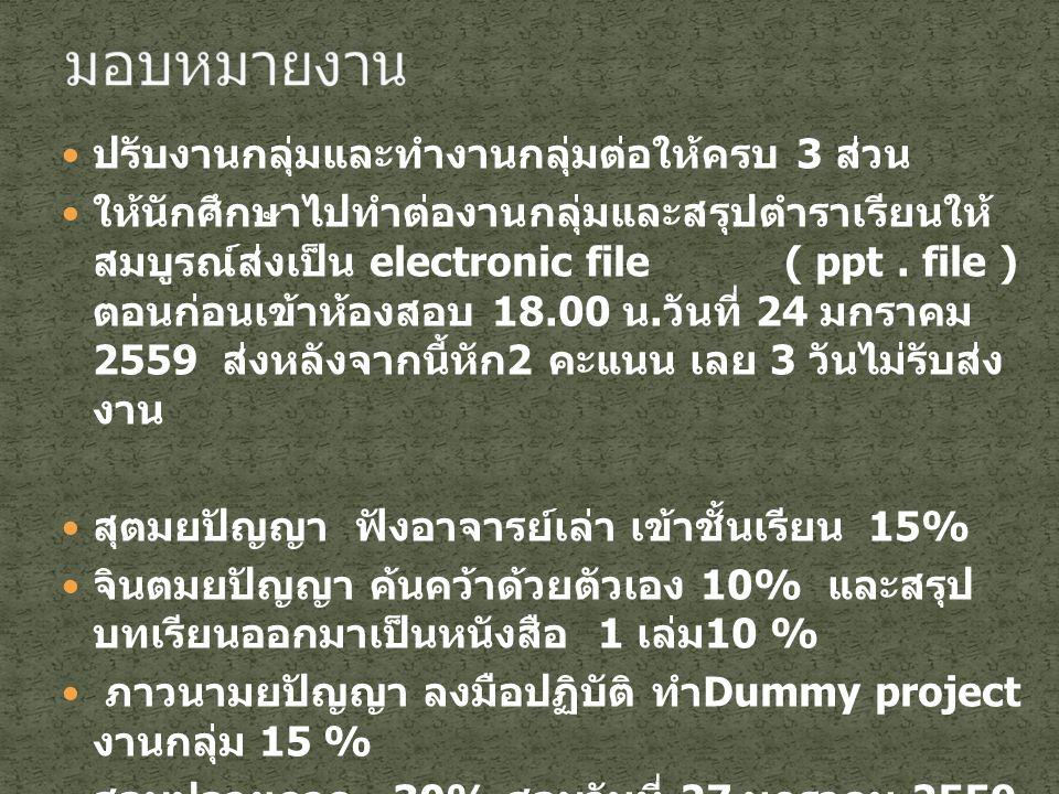 ปรับงานกลุ่มและทำงานกลุ่มต่อให้ครบ 3 ส่วน ให้นักศึกษาไปทำต่องานกลุ่มและสรุปตำราเรียนให้ สมบูรณ์ส่งเป็น electronic file ( ppt. file ) ตอนก่อนเข้าห้องสอ