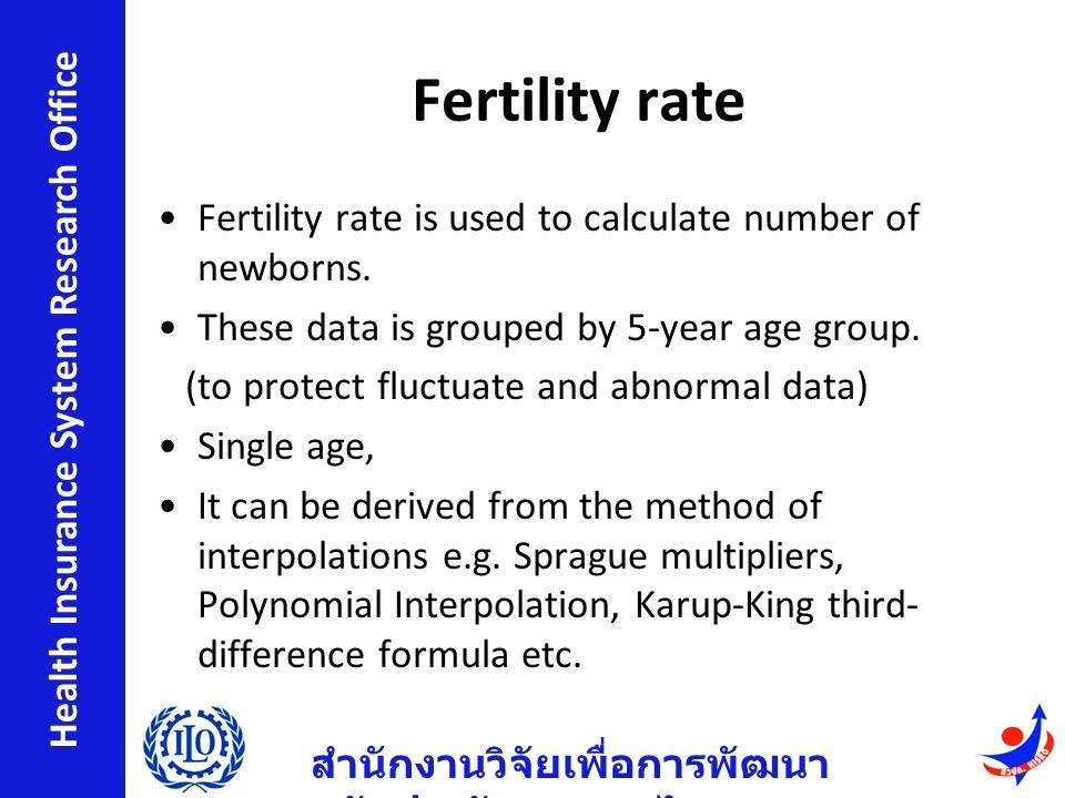 สำนักงานวิจัยเพื่อการพัฒนา หลักประกันสุขภาพไทย Health Insurance System Research Office Fertility rate Fertility rate is used to calculate number of newborns.