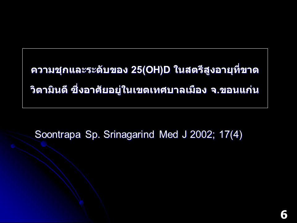 ความชุกและระดับของ 25(OH)D ในสตรีสูงอายุที่ขาด วิตามินดี ซึ่งอาศัยอยู่ในเขตเทศบาลเมือง จ. ขอนแก่น Soontrapa Sp. Srinagarind Med J 2002; 17(4) 6