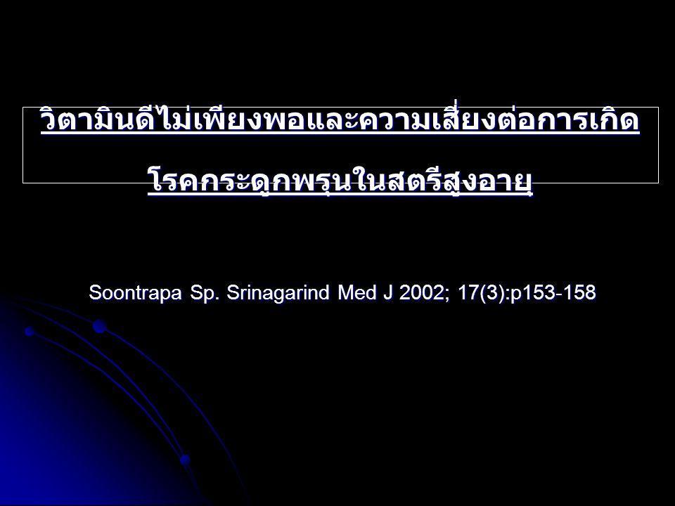 วิตามินดีไม่เพียงพอและความเสี่ยงต่อการเกิด โรคกระดูกพรุนในสตรีสูงอายุ Soontrapa Sp. Srinagarind Med J 2002; 17(3):p153-158