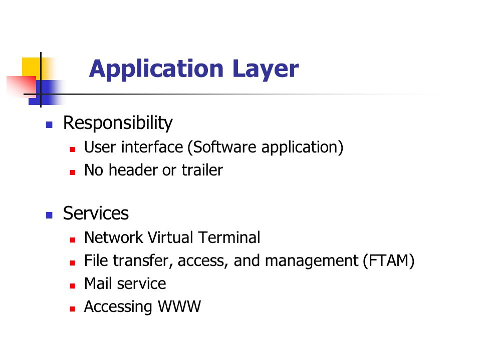 Application Layer Responsibility User interface (Software application) No header or trailer Services Network Virtual Terminal File transfer, access, a