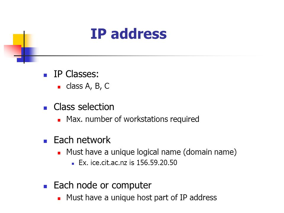 IP address IP Classes: class A, B, C Class selection Max. number of workstations required Each network Must have a unique logical name (domain name) E