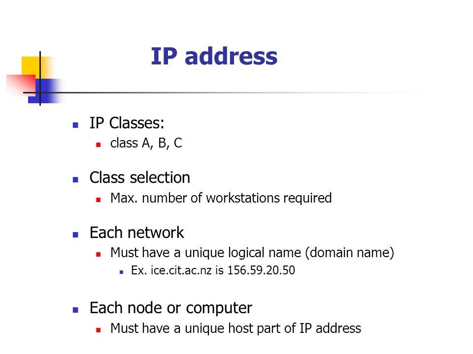 IP address IP Classes: class A, B, C Class selection Max.