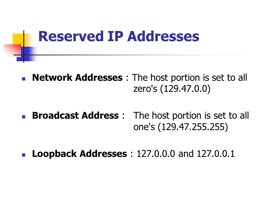 Reserved IP Addresses Network Addresses : The host portion is set to all zero's (129.47.0.0) Broadcast Address : The host portion is set to all one's