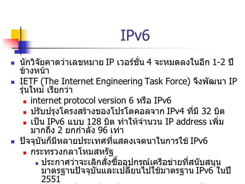 IPv6 นักวิจัยคาดว่าเลขหมาย IP เวอร์ชั่น 4 จะหมดลงในอีก 1-2 ปี ข้างหน้า IETF (The Internet Engineering Task Force) จึงพัฒนา IP รุ่นใหม่ เรียกว่า intern