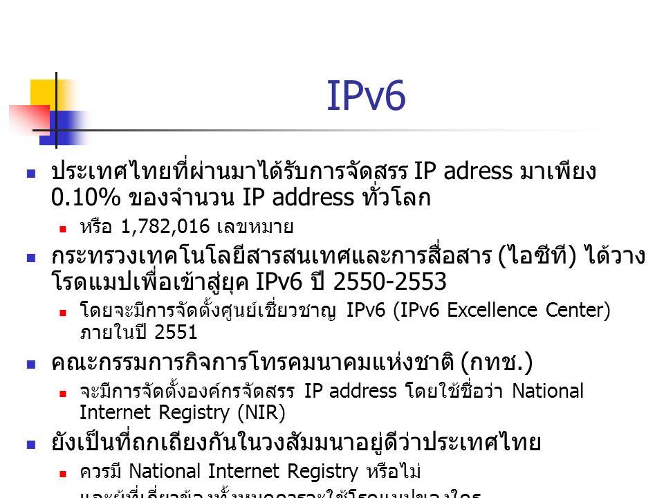 IPv6 ประเทศไทยที่ผ่านมาได้รับการจัดสรร IP adress มาเพียง 0.10% ของจำนวน IP address ทั่วโลก หรือ 1,782,016 เลขหมาย กระทรวงเทคโนโลยีสารสนเทศและการสื่อสา