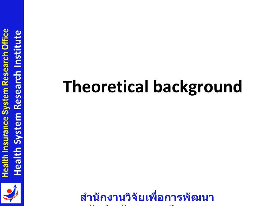 สำนักงานวิจัยเพื่อการพัฒนา หลักประกันสุขภาพไทย Health Insurance System Research Office Health System Research Institute Theoretical background 3