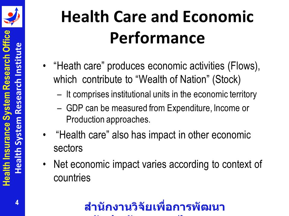 สำนักงานวิจัยเพื่อการพัฒนา หลักประกันสุขภาพไทย Health Insurance System Research Office Health System Research Institute Health Care and Economic Performance Heath care produces economic activities (Flows), which contribute to Wealth of Nation (Stock) –It comprises institutional units in the economic territory –GDP can be measured from Expenditure, Income or Production approaches.