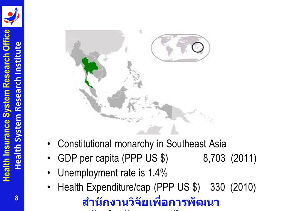 สำนักงานวิจัยเพื่อการพัฒนา หลักประกันสุขภาพไทย Health Insurance System Research Office Health System Research Institute Constitutional monarchy in Southeast Asia GDP per capita (PPP US $) 8,703 (2011) Unemployment rate is 1.4% Health Expenditure/cap (PPP US $) 330 (2010) 8