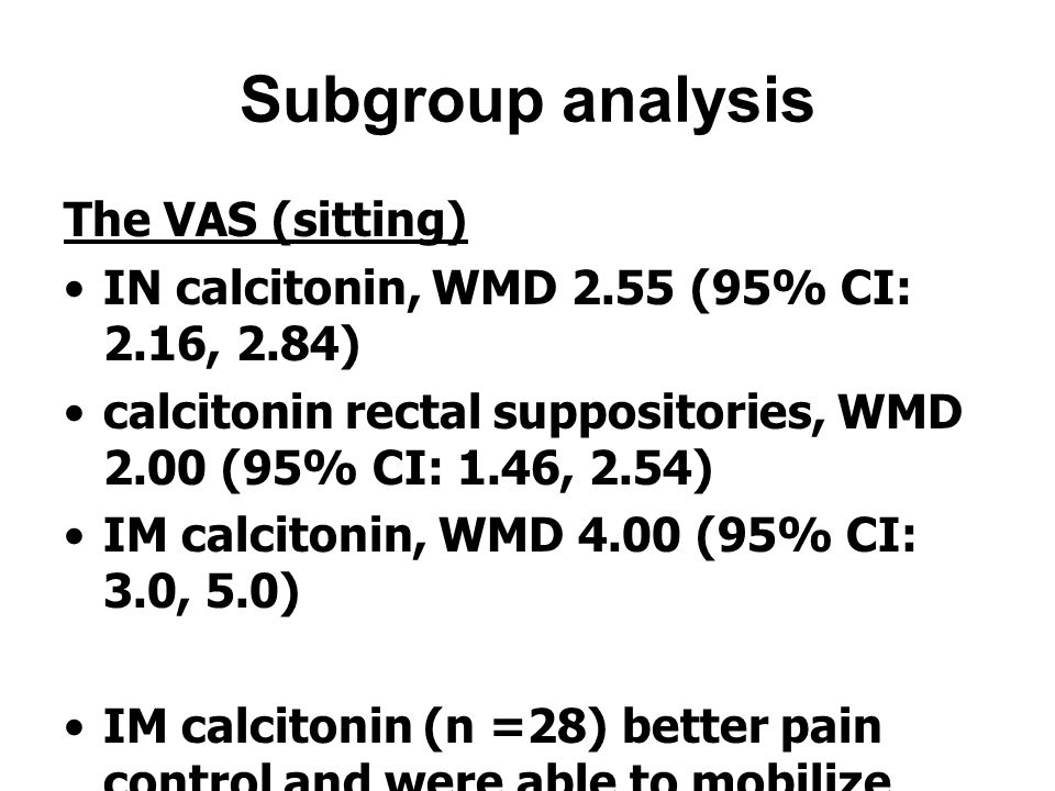 Subgroup analysis The VAS (sitting) IN calcitonin, WMD 2.55 (95% CI: 2.16, 2.84) calcitonin rectal suppositories, WMD 2.00 (95% CI: 1.46, 2.54) IM cal