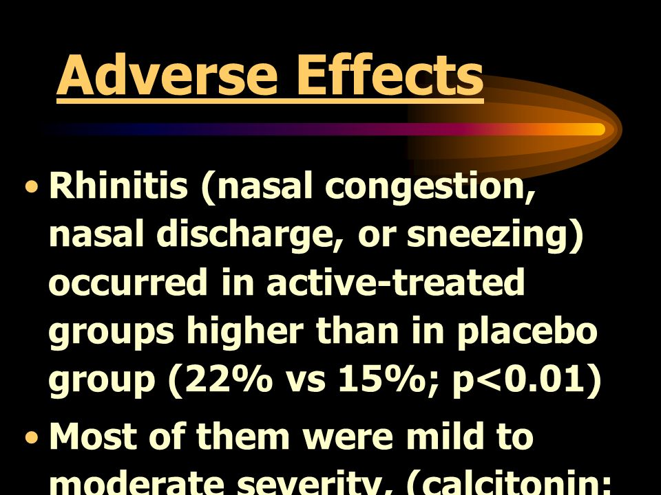 Adverse Effects Rhinitis (nasal congestion, nasal discharge, or sneezing) occurred in active-treated groups higher than in placebo group (22% vs 15%;