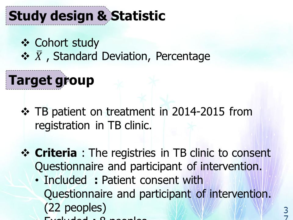 Target group  TB patient on treatment in 2014-2015 from registration in TB clinic.