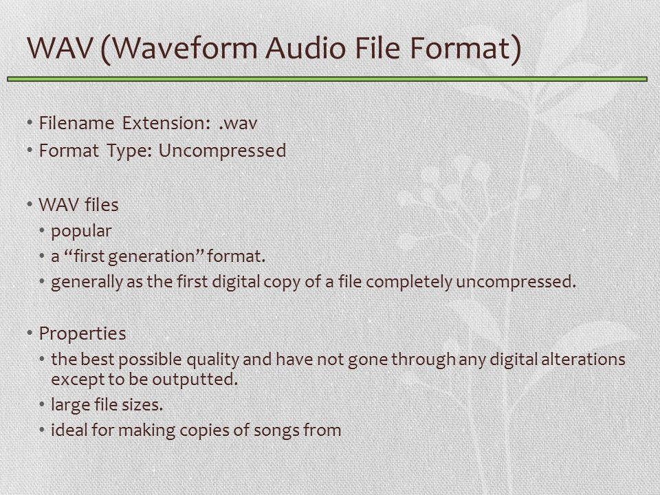 WAV (Waveform Audio File Format) Filename Extension:.wav Format Type: Uncompressed WAV files popular a first generation format.