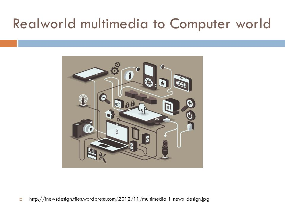 Realworld multimedia to Computer world  http://inewsdesign.files.wordpress.com/2012/11/multimedia_i_news_design.jpg