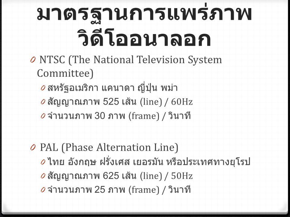 มาตรฐานการแพร่ภาพ วิดีโออนาลอก 0 NTSC (The National Television System Committee) 0 สหรัฐอเมริกา แคนาดา ญี่ปุ่น พม่า 0 สัญญาณภาพ 525 เส้น (line) / 60Hz 0 จำนวนภาพ 30 ภาพ (frame) / วินาที 0 PAL (Phase Alternation Line) 0 ไทย อังกฤษ ฝรั่งเศส เยอรมัน หรือประเทศทางยุโรป 0 สัญญาณภาพ 625 เส้น (line) / 50Hz 0 จำนวนภาพ 25 ภาพ (frame) / วินาที