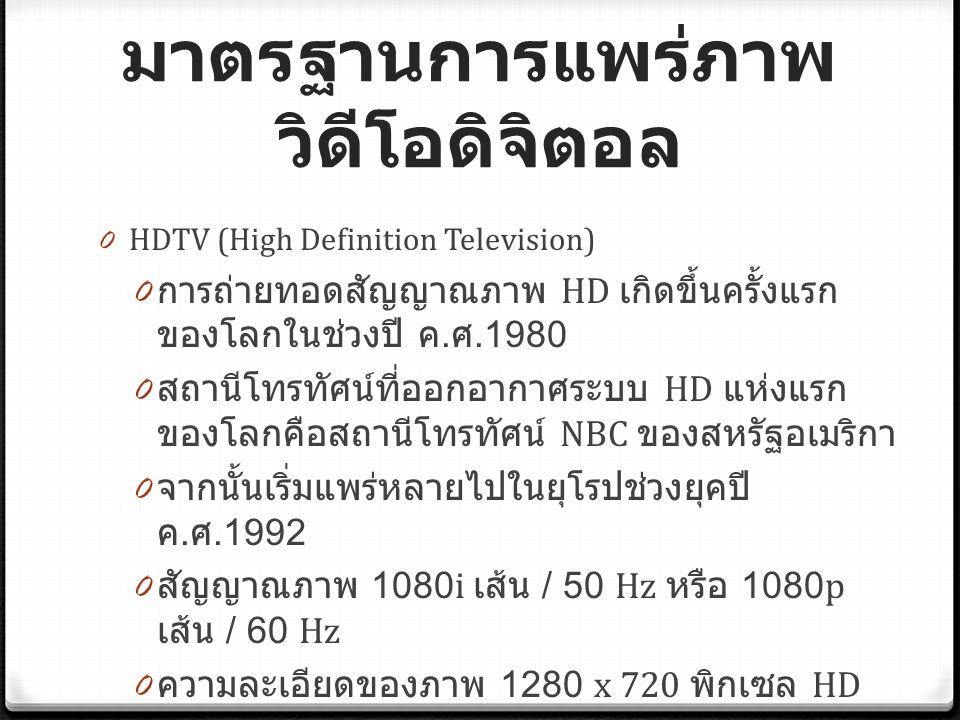 มาตรฐานการแพร่ภาพ วิดีโอดิจิตอล 0 HDTV (High Definition Television) 0 การถ่ายทอดสัญญาณภาพ HD เกิดขึ้นครั้งแรก ของโลกในช่วงปี ค.