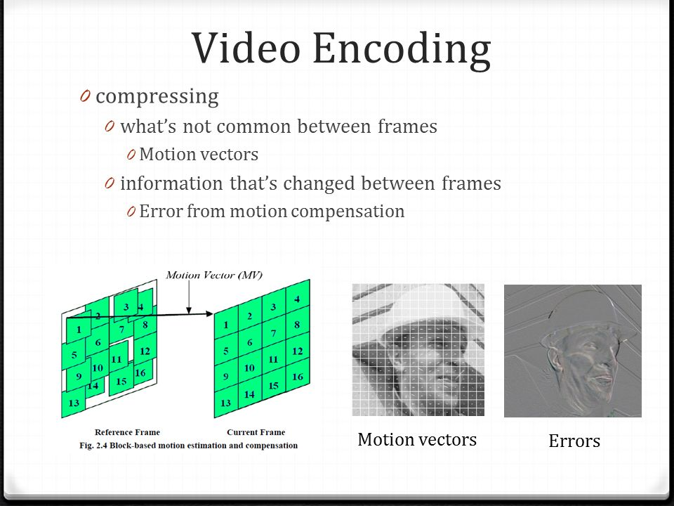 Video Encoding 0 compressing 0 what's not common between frames 0 Motion vectors 0 information that's changed between frames 0 Error from motion compensation Motion vectors Errors