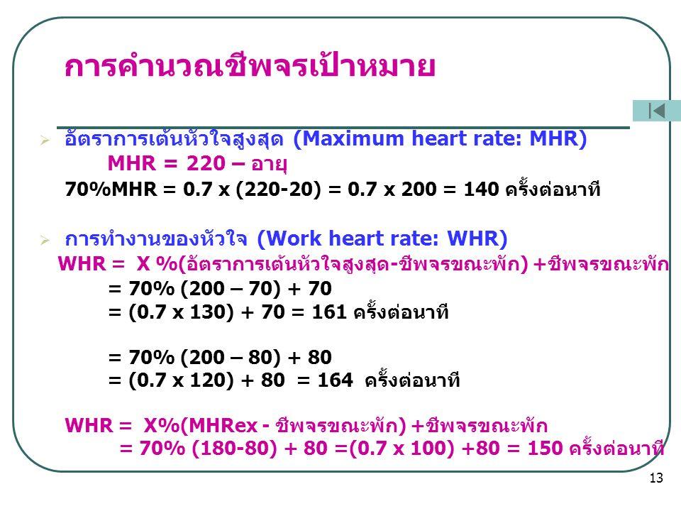การคำนวณชีพจรเป้าหมาย  อัตราการเต้นหัวใจสูงสุด (Maximum heart rate: MHR) MHR = 220 – อายุ 70%MHR = 0.7 x (220-20) = 0.7 x 200 = 140 ครั้งต่อนาที  การทำงานของหัวใจ (Work heart rate: WHR) WHR = X %(อัตราการเต้นหัวใจสูงสุด-ชีพจรขณะพัก) +ชีพจรขณะพัก = 70% (200 – 70) + 70 = (0.7 x 130) + 70 = 161 ครั้งต่อนาที = 70% (200 – 80) + 80 = (0.7 x 120) + 80 = 164 ครั้งต่อนาที WHR = X%(MHRex - ชีพจรขณะพัก) +ชีพจรขณะพัก = 70% (180-80) + 80 =(0.7 x 100) +80 = 150 ครั้งต่อนาที 13