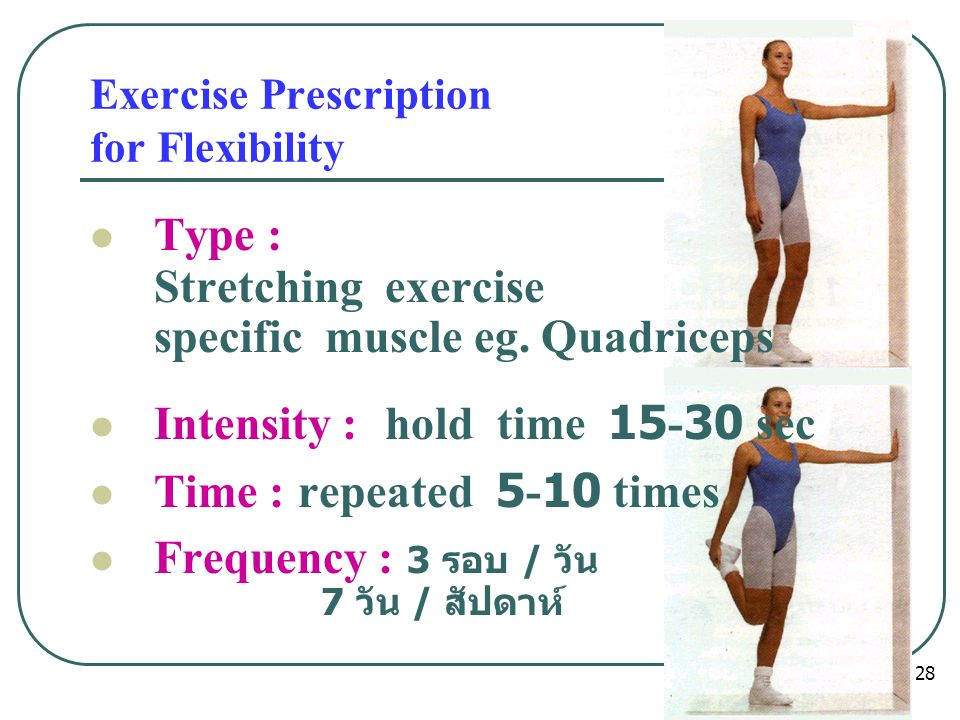 Exercise Prescription for Flexibility Type : Stretching exercise specific muscle eg.