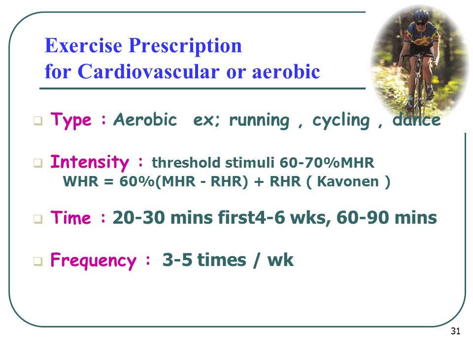 หลักการจัด โปรแกรมการออกกำลัง กาย Type Intensity Time / duration Frequency Warm up period Exercise peroid Cool down period 32