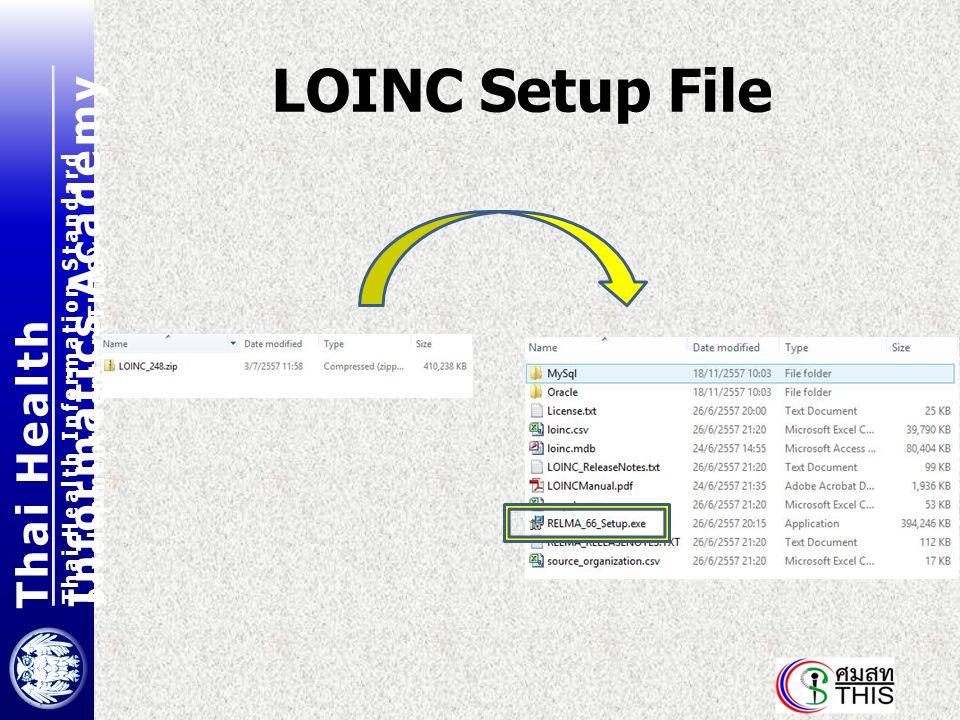 Thai Health Informatics Academy Thai Health Information Standard Development Center(THIS) LOINC Setup File