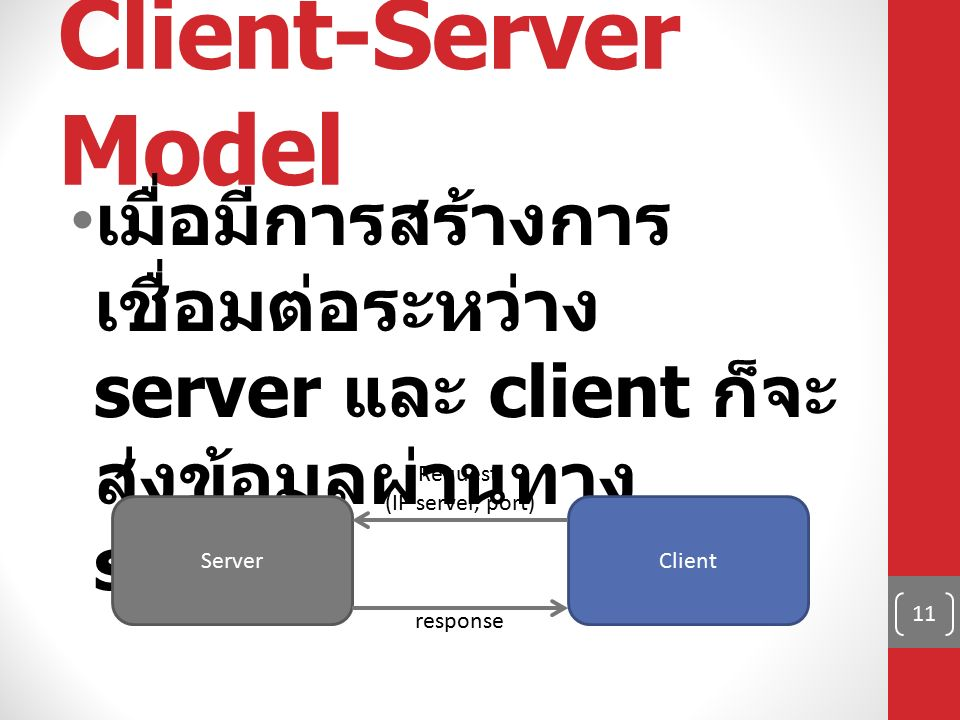 Client-Server Model เมื่อมีการสร้างการ เชื่อมต่อระหว่าง server และ client ก็จะ ส่งข้อมูลผ่านทาง socket 11 ServerClient response Request (IP server, port)