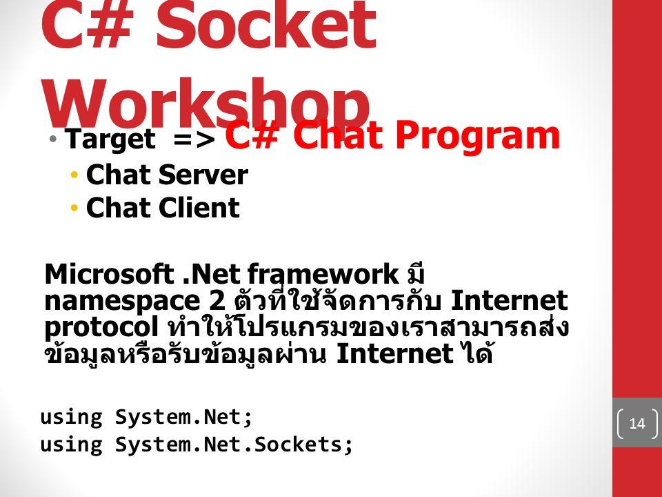 C# Socket Workshop Target => C# Chat Program Chat Server Chat Client Microsoft.Net framework มี namespace 2 ตัวที่ใช้จัดการกับ Internet protocol ทำให้