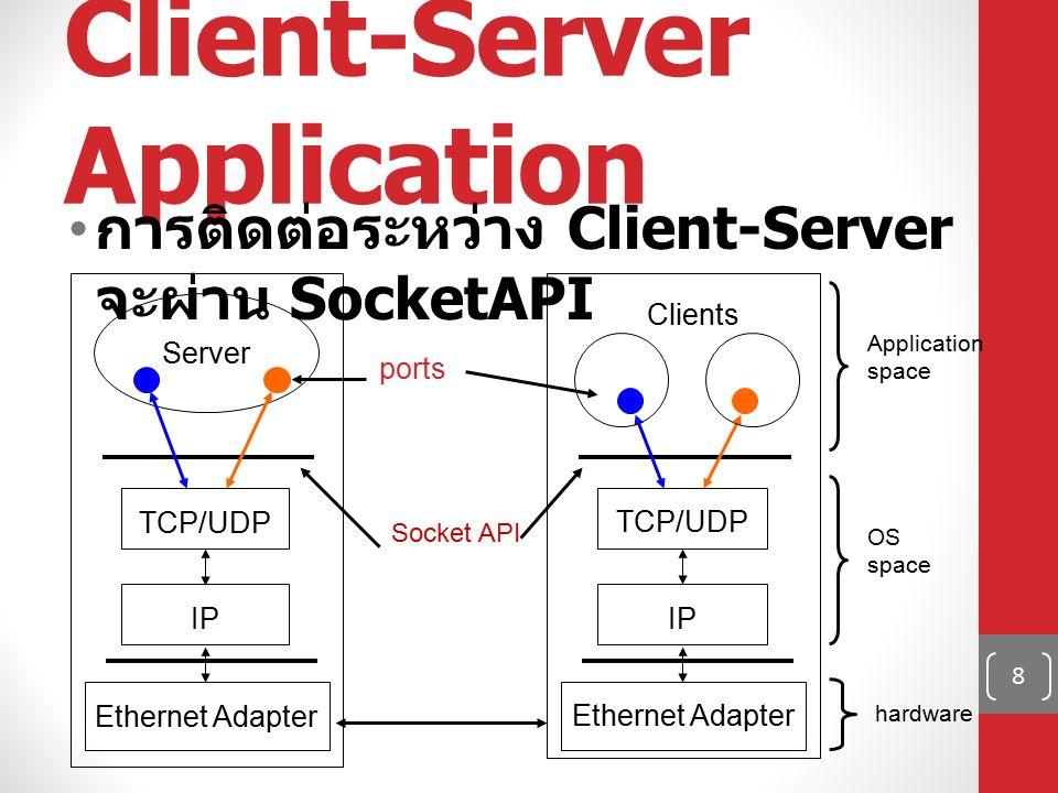 ส่วนประกอบของ Socket ที่อยู่ของเครื่อง (IP) ที่อยู่ของโปรแกรมในเครื่อง (Port) Address+Port = Socket 9 Connection socket pair (128.2.194.242:3479, 208.216.181.15:80) Server (port 80) Client Client socket address 128.2.194.242:3479 Server socket address 208.216.181.15:80 Client host address 128.2.194.242 Server host address 208.216.181.15 Port ฝั่ง Client ถูกกำหนดโดย OS Port ฝั่ง Server ต้องเป็น Port ที่ Client เข้าถึงได้