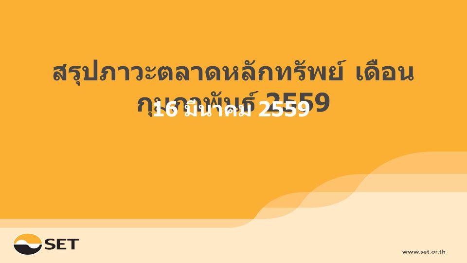 สรุปภาวะตลาดหลักทรัพย์ เดือน กุมภาพันธ์ 2559 16 มีนาคม 2559
