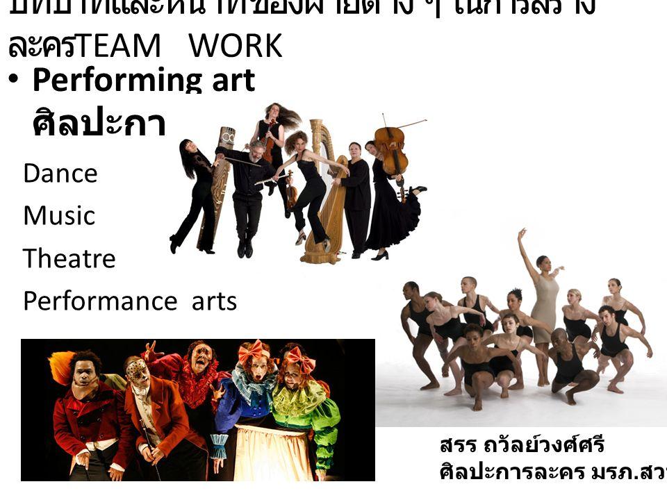 บทบาทและหน้าที่ของฝ่ายต่าง ๆ ในการสร้าง ละคร TEAM WORK Performing art ศิลปะการแสดง Dance Music Theatre Performance arts สรร ถวัลย์วงศ์ศรี ศิลปะการละคร