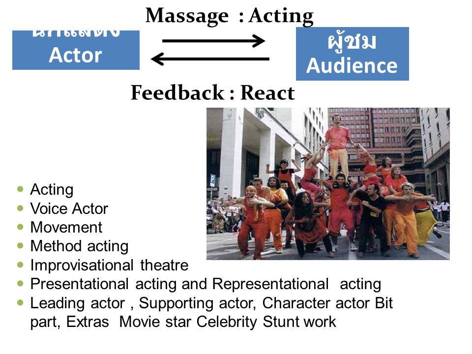 ผู้ชม Audience นักแสดง Actor Massage : Acting Feedback : React Acting Voice Actor Movement Method acting Improvisational theatre Presentational acting