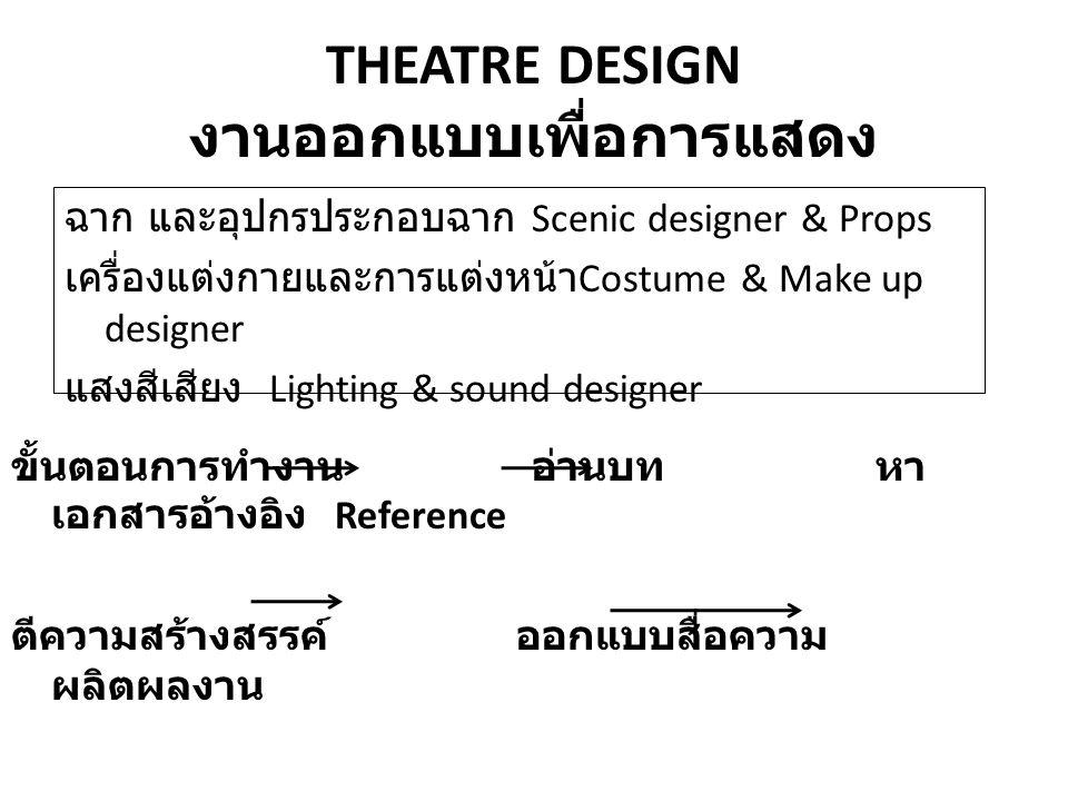 THEATRE DESIGN งานออกแบบเพื่อการแสดง ฉาก และอุปกรประกอบฉาก Scenic designer & Props เครื่องแต่งกายและการแต่งหน้า Costume & Make up designer แสงสีเสียง