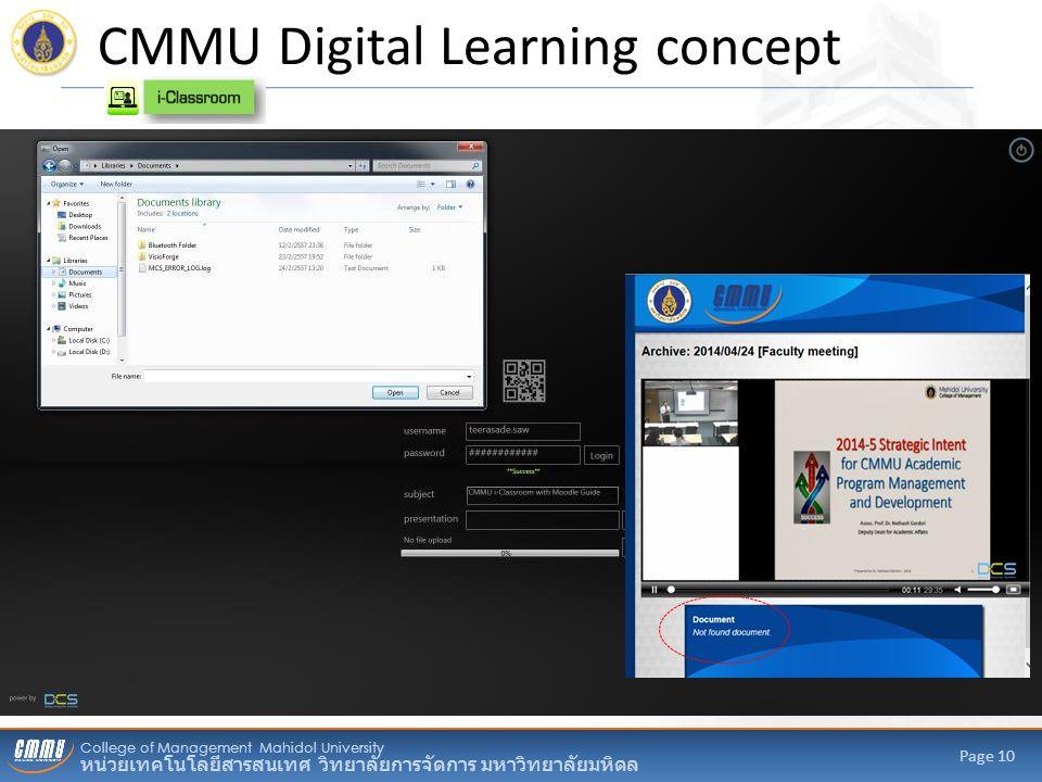 College of Management Mahidol University หน่วยเทคโนโลยีสารสนเทศ วิทยาลัยการจัดการ มหาวิทยาลัยมหิดล Page 10 CMMU Digital Learning concept