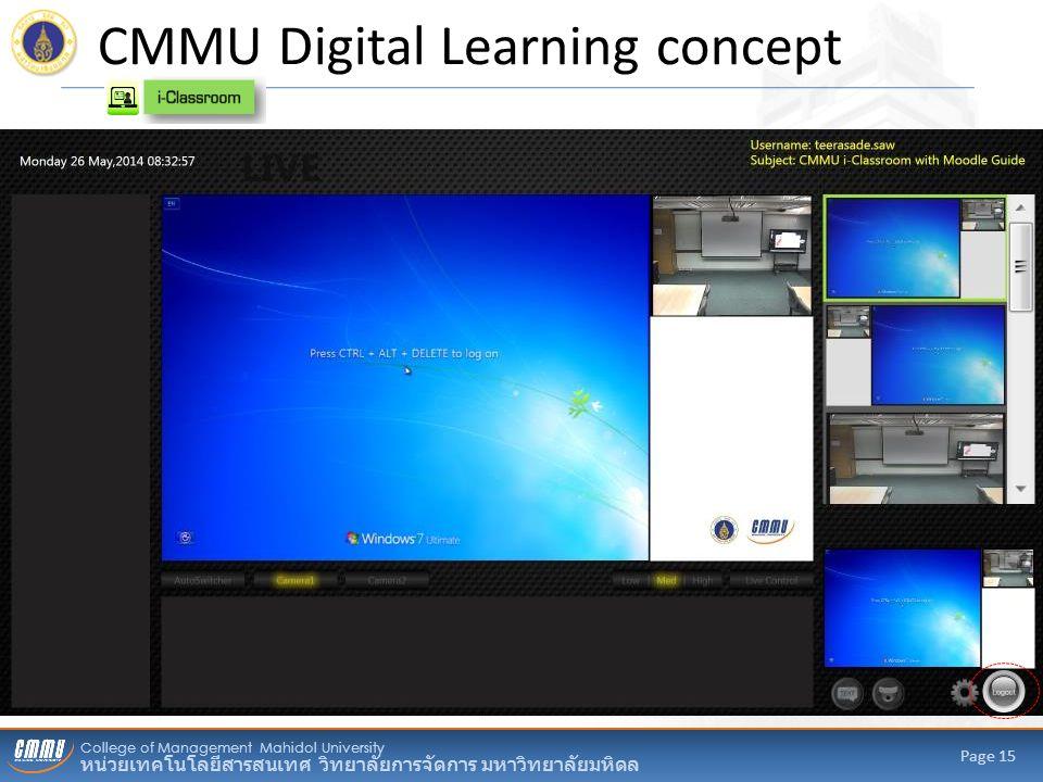 College of Management Mahidol University หน่วยเทคโนโลยีสารสนเทศ วิทยาลัยการจัดการ มหาวิทยาลัยมหิดล Page 15 CMMU Digital Learning concept