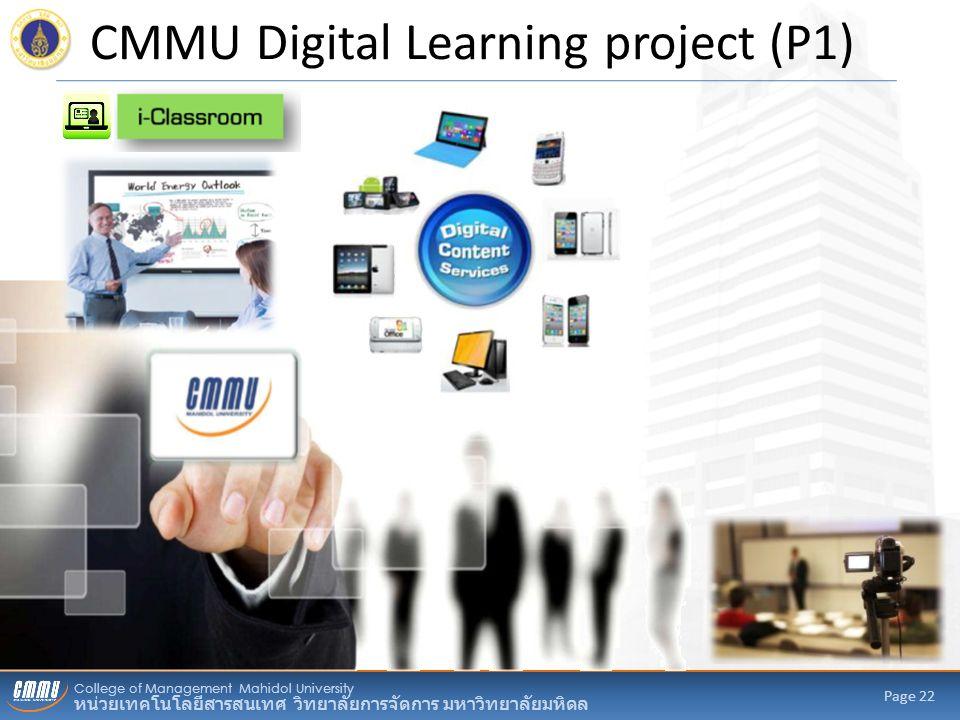 College of Management Mahidol University หน่วยเทคโนโลยีสารสนเทศ วิทยาลัยการจัดการ มหาวิทยาลัยมหิดล Page 22 CMMU Digital Learning project (P1)